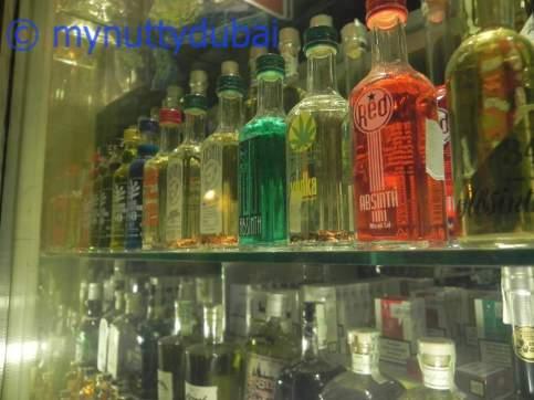 Bottles of Absinthe in a window display