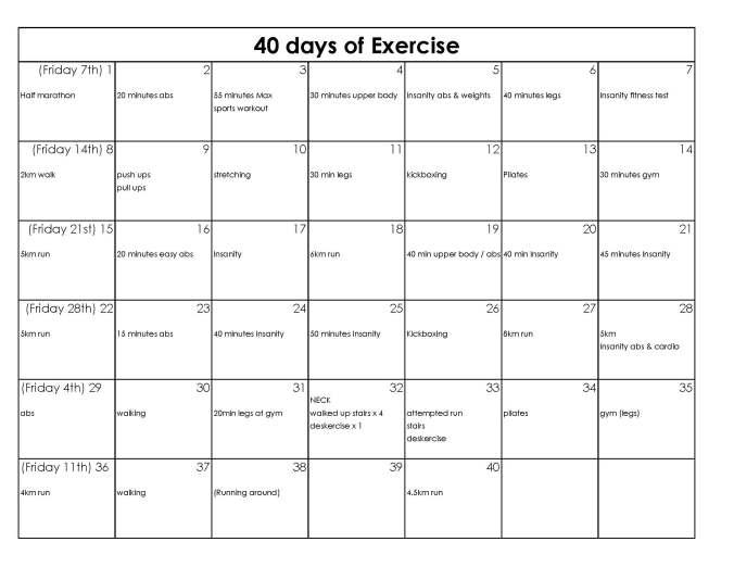 40-day schedule