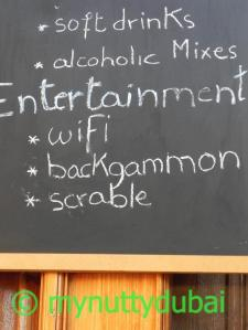 """An invite to play """"scrable"""" outside a bar in Beirut"""