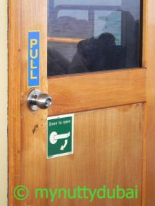 Someone didn't keep up with the signage when changing the doorknob...