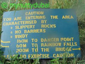 A sign warning of the dangerous area ahead at Vic Falls