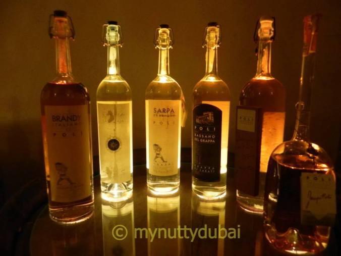 light behind bottles