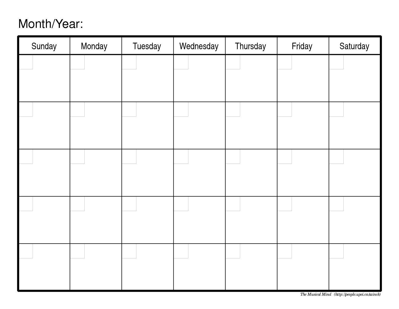 Blank Calendar Month Mnbvcx  Calendar Free Template