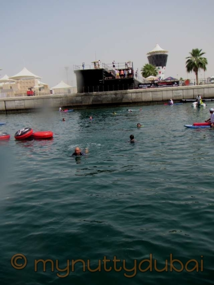 Swimming across the marina
