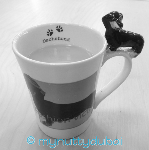 My favourite morning liquid - a cup of tea in my Dachshund mug from SA