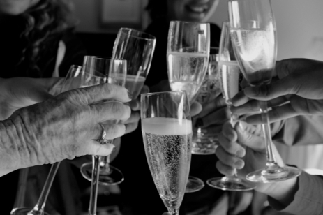Toasting the bride-to-be while getting ready