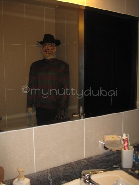 Freddy Kruger hiding out in the bathroom