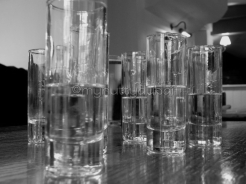 Shot glasses from a side angle