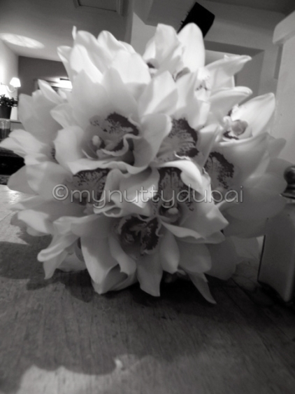Wedding bouquet, lying on its side