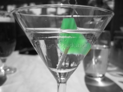 Cocktail glass from a side angle