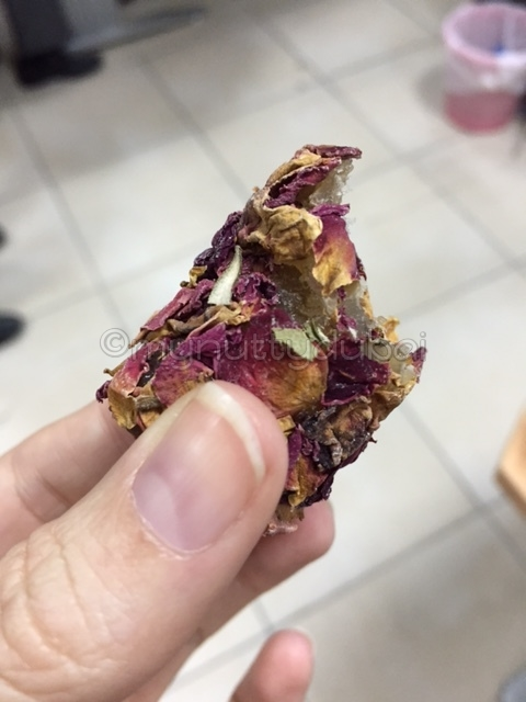 Nougat covered in rose petals - smelled like roses! Was quite weird to eat...