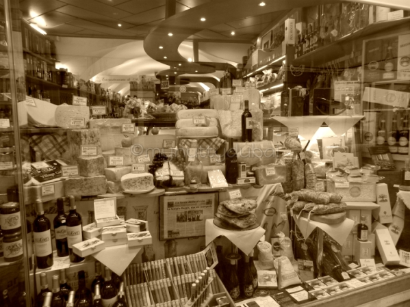 The sepia one - a very busy cheese display