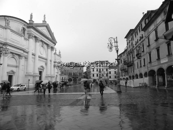 Wet roads of Bassano del Grappa