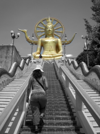 Climbing to reach another temple in Thailand