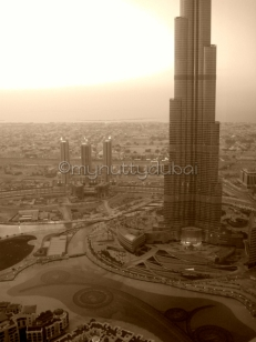 Through the window of a building - looking onto the construction of Burj Khalifa