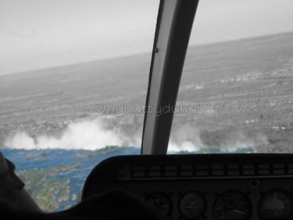 Through a helicopter window over Vic Falls