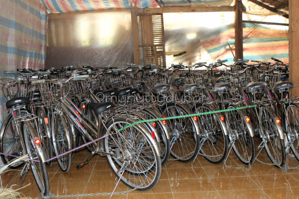 Bicycles haphazardly gathered, in Cambodia