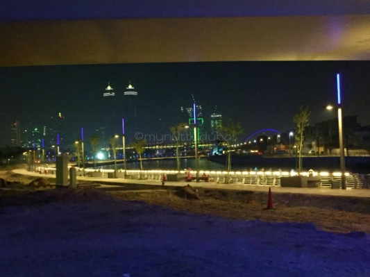 Looking onto the Dubai skyline from under one of the bridges