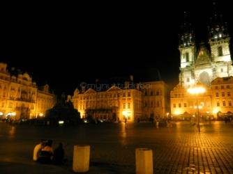 Nighttime square