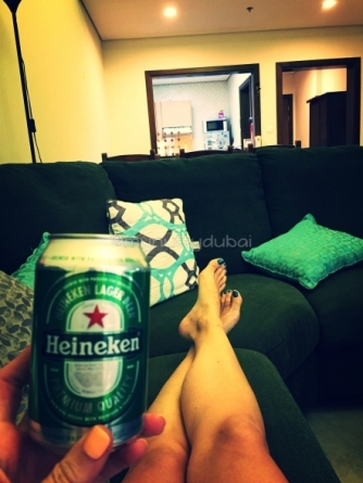 Beers on the couch after lots of moving