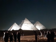 Leaving the concert venue - our view of the pyramids!